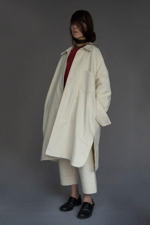 Moleskin Cotton Coat Carlo Ivory by Ecole de Curiosites