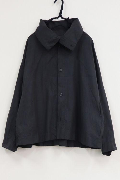 High Neck Shirt Black Navy-S