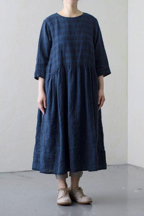 Striped Linen Dress Dark Blue by Vlas Blomme