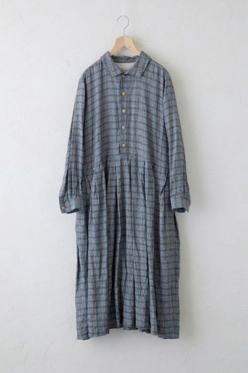 Shirt Dress Vintage Check Gray Ochre by Vlas Blomme-S