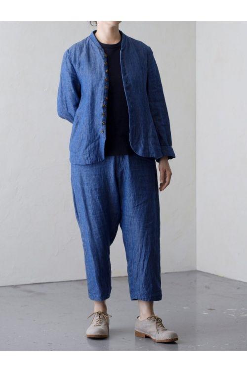 Shadow Stripe Linen Jacket Blue by Vlas Blomme
