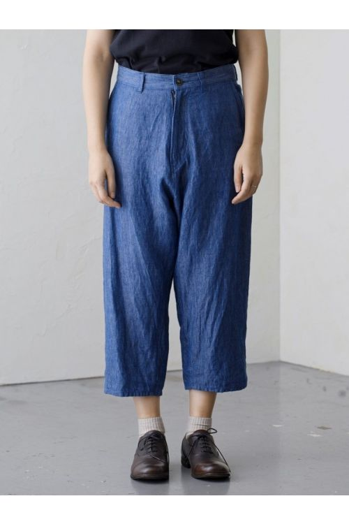 Shadow Stripe Linen Sarouel Trousers Blue by Vlas Blomme