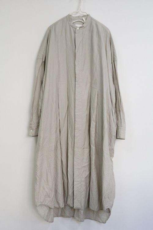 Wide Tuck Shirt Dress Snow Grey by Toujours-S