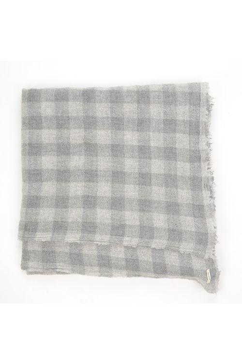 Cashmere Scarf Dark Grey Check by ApuntoB-TU