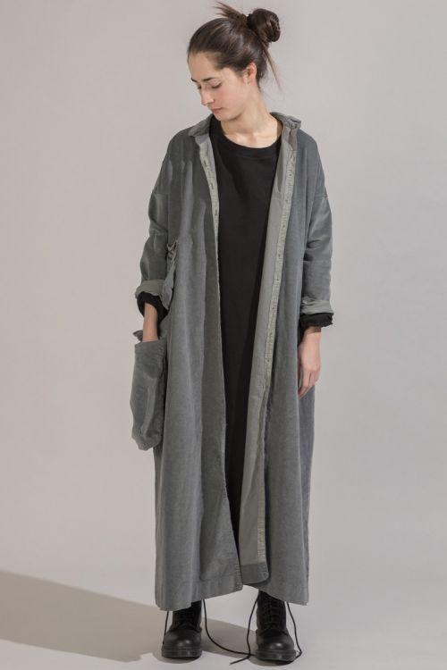 Long Corduroy Collar Dress Grey by Album di Famiglia