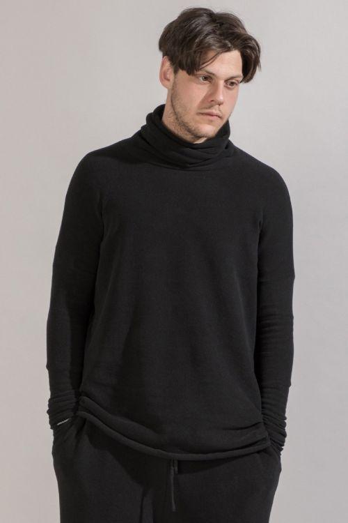 Soft Jersey Long Turtleneck Black