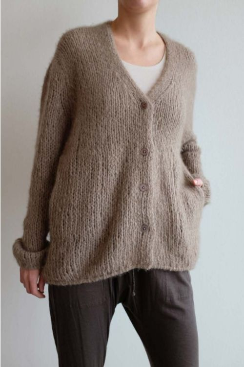Handmade Cashmere Cardigan Brown by Private0204-S