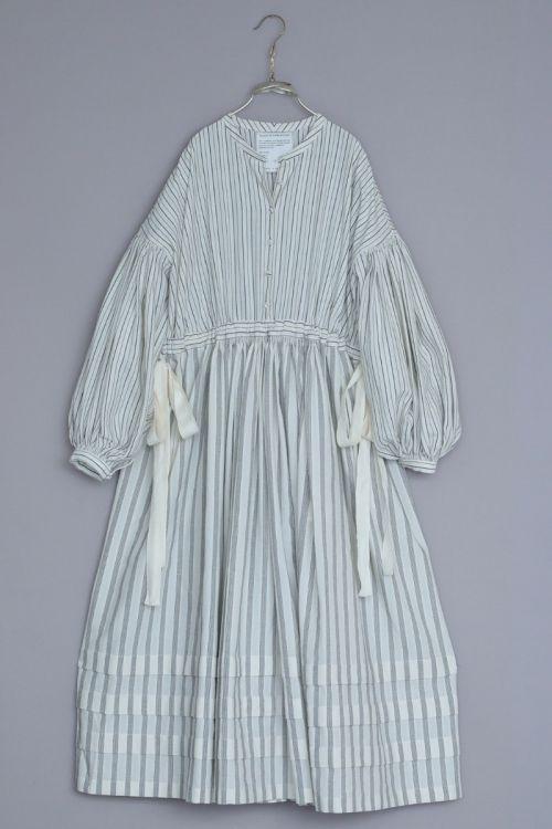 Organic Cotton Dress Aubrey Ivory Black Stripes by Ecole de Curiosites-S