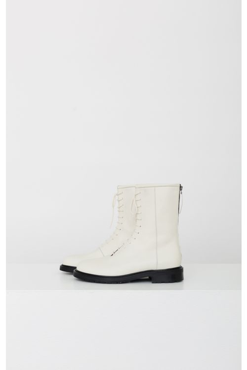 Leather Combat Boots Off-White by LEGRES-36EU