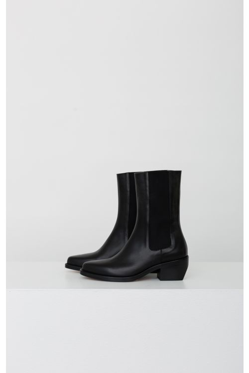 Leather Chelsea Western Mid Boots Black by LEGRES-36EU