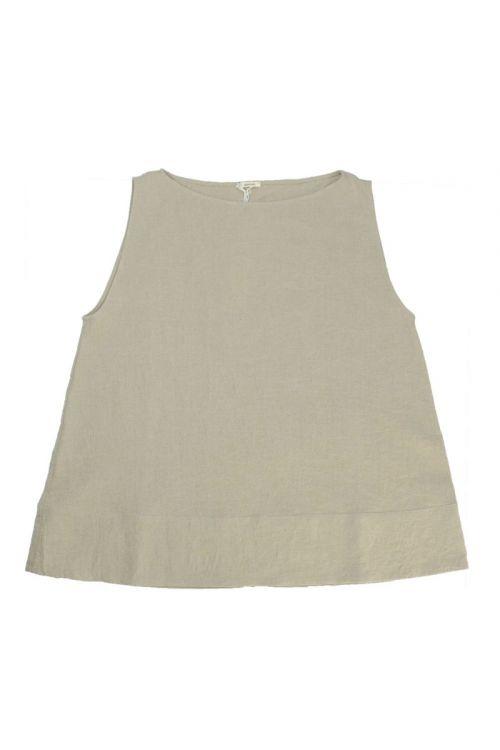 Sleeveless Linen Top Ecru by ApuntoB-S