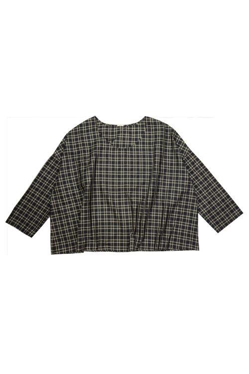 Wide Silk Shirt Black Check by ApuntoB