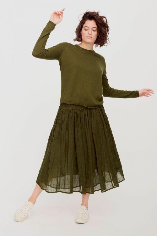 Linen Skirt Military Green by ApuntoB