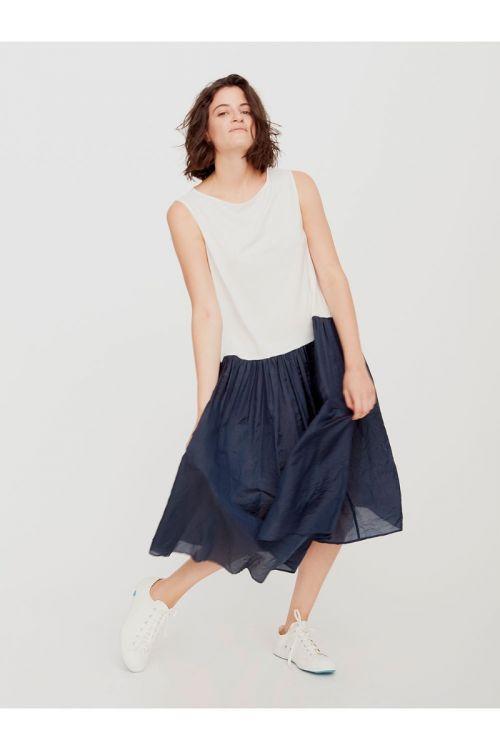 Dress White Cotton Blue Silk by ApuntoB-XS