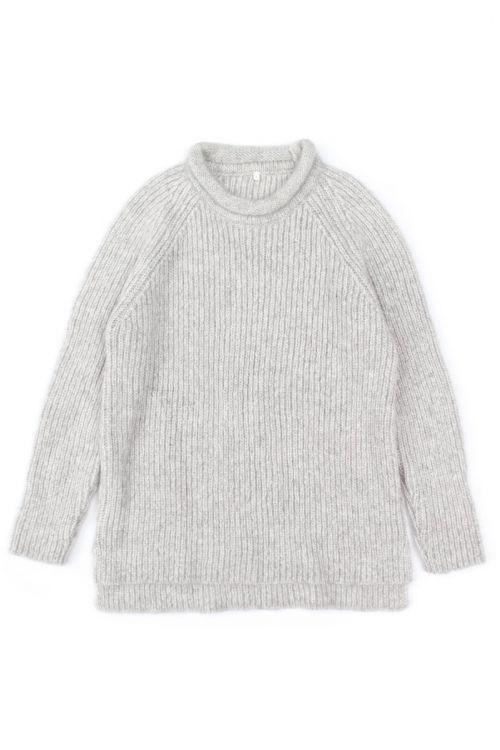 Knitted Woolen Pullover Loroni Light Grey Marl by Anja Schwerbrock-S