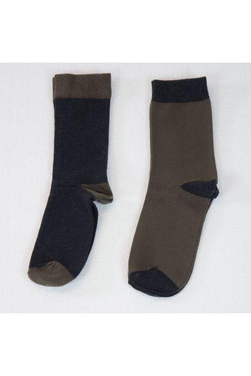 Bicolor Socks Marron Glace - Set of Two by Album di Famiglia-TU