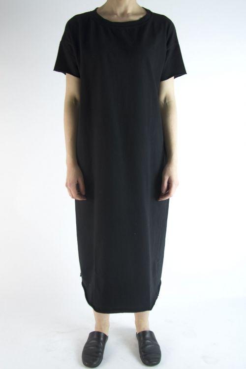 Long Heavy Cotton T-Dress Black by Album di Famiglia
