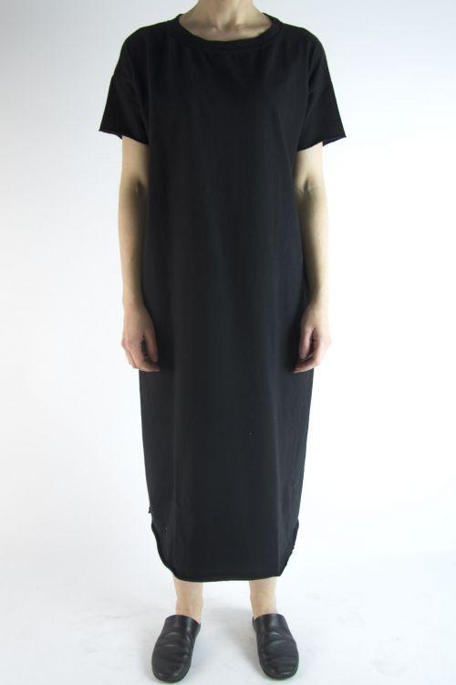 Long Heavy Cotton T-Dress Black by Album di Famiglia-S/M