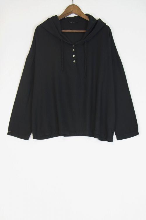 Soft Canvas Hooded Shirt Black by Album di Famiglia