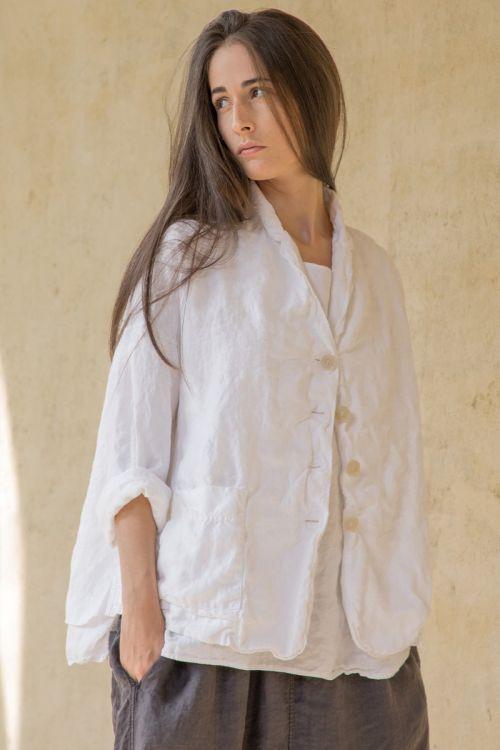 Loose Linen Blazer White by Album di Famiglia