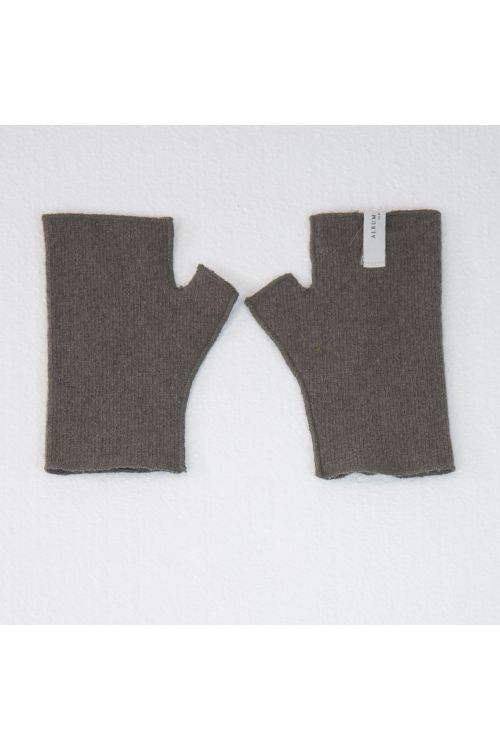 Short Fingerless Cashmere Gloves Marron Glace by Album di Famiglia-S/M