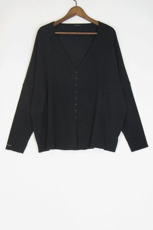 Soft Jersey Cardigan Over Charcoal by Album di Famiglia