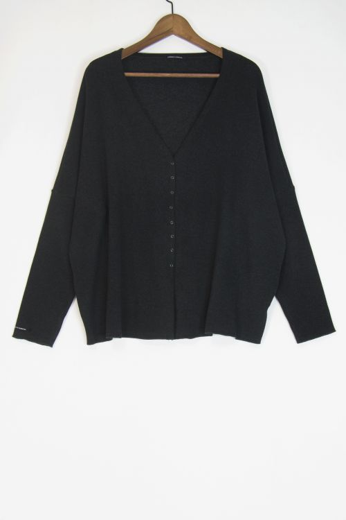 Soft Jersey Cardigan Over Charcoal by Album di Famiglia-S/M