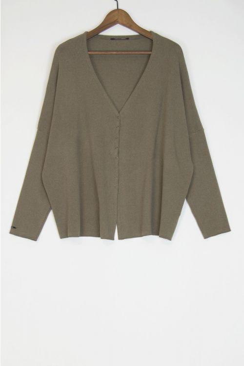 Soft Jersey Cardigan Over Marron Glace by Album di Famiglia