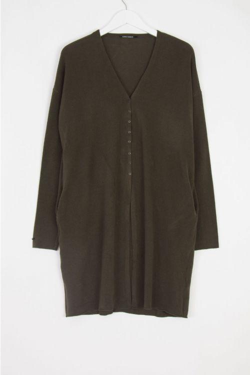 Soft Jersey Mid-Length Cardigan Moka by Album di Famiglia