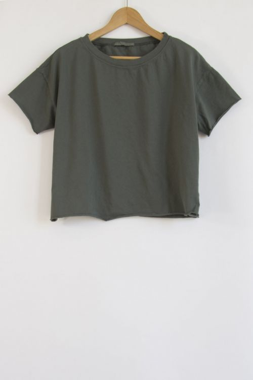 Heavy Cotton T-Shirt Olive by Album di Famiglia-XS