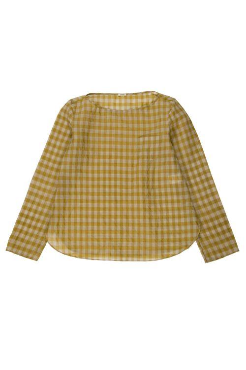 Silk Blouse Ecru/Yellow Check by ApuntoB-XS