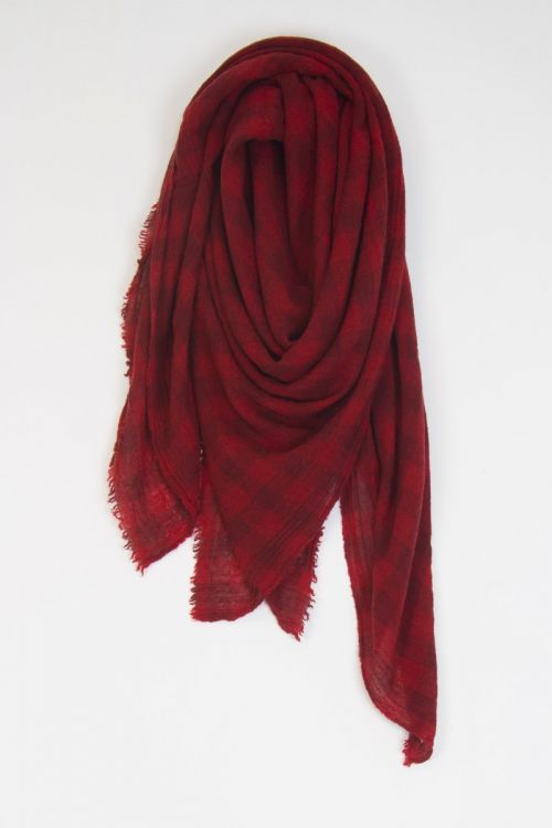 Large Cashmere Scarf Cherry Check by ApuntoB