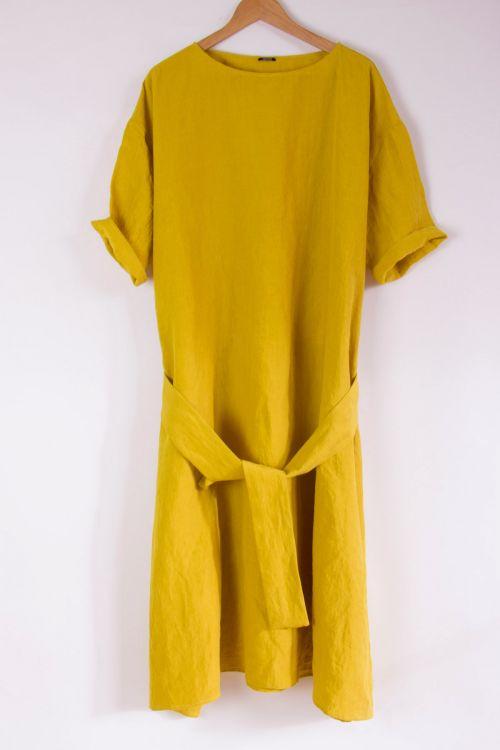 Wide Linen Dress Lemon by ApuntoB-XS