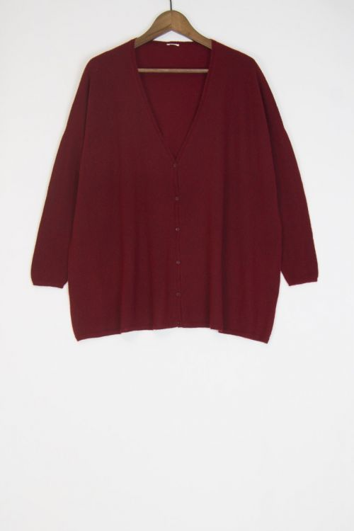 Cashmere and Silk Long Cardigan Cherry by ApuntoB