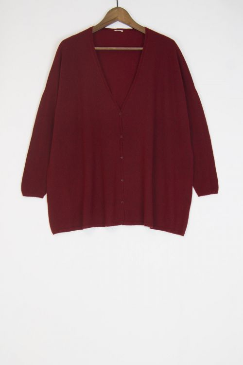 Cashmere and Silk Long Cardigan Cherry by ApuntoB-S
