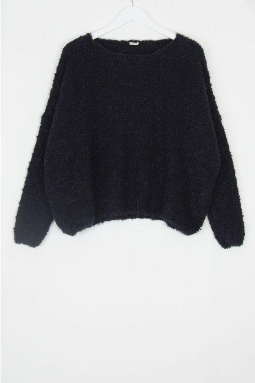 Soft Woolen Boucle Pullover Black by ApuntoB