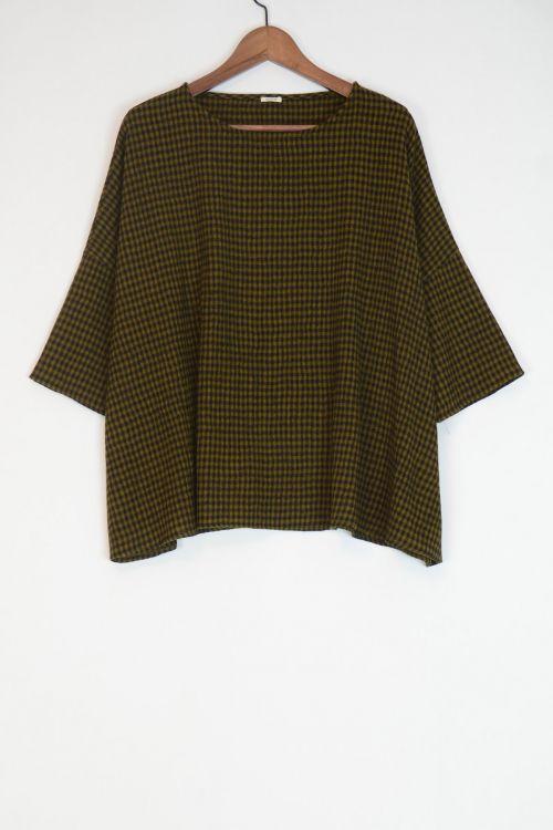 Virgin Wool Wide Blouse Olive/Black Check by ApuntoB-S