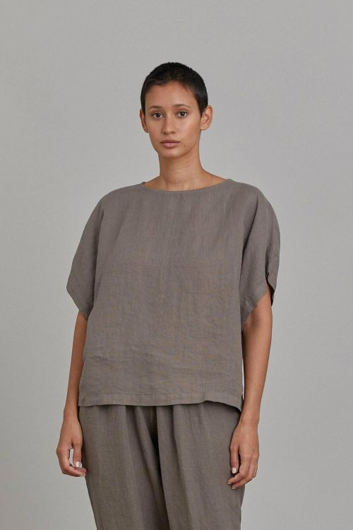 Box Top Linen Grey by Black Crane-XS