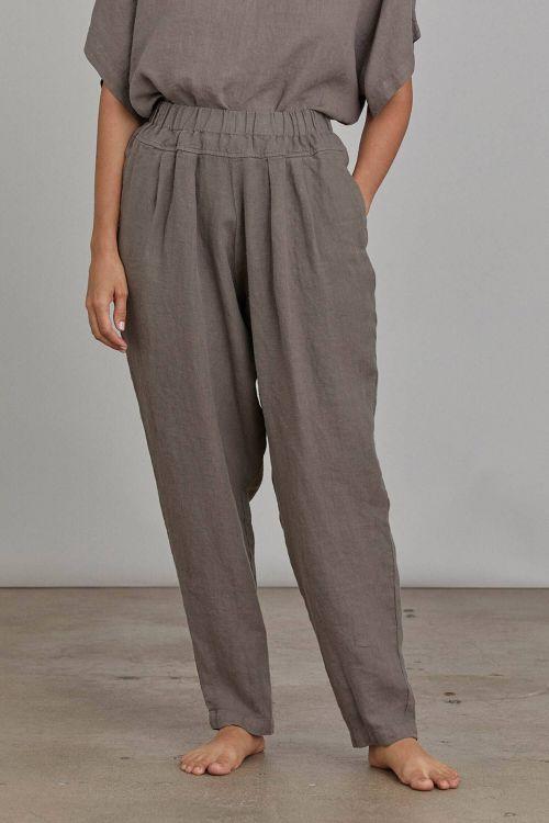 Linen Pants Carpenter Grey by Black Crane-XS