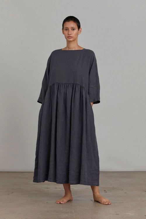 Dress Linen Tradi Faded Black by Black Crane