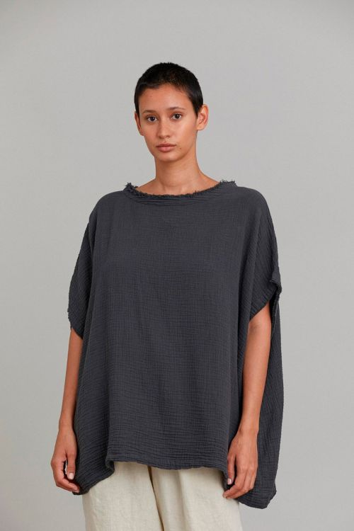 Gauze Top Faded Black by Black Crane