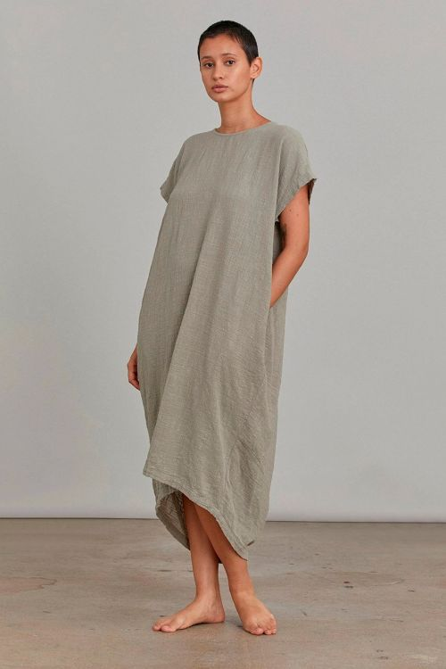 Pleated Cocoon Dress Stone by Black Crane-XS