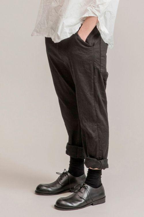 Gabardine Stretch Braghette Trousers Black by Album di Famiglia