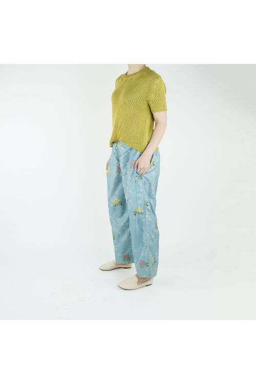 Silk Trousers Blue with Flower Print by Pero