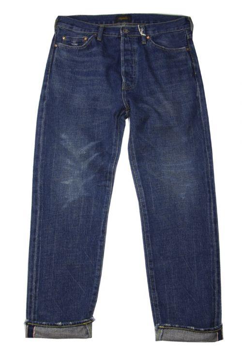 Narrow Tapered Cut Jeans Dark Repair by Chimala-S