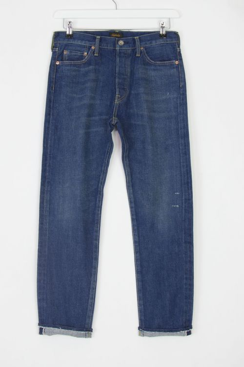 Jeans Narrow Tapered Cut Dark Distress by Chimala-S