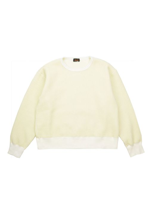 Quilted Cloth Crew Sweater Off-White by Chimala