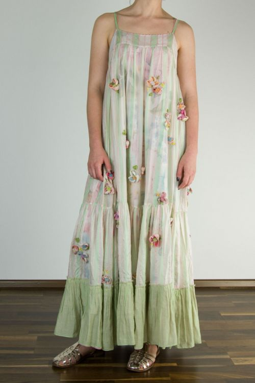 Silk Dress Green/Pink Stripes with Applied Embroidered Flowers by Pero-XS