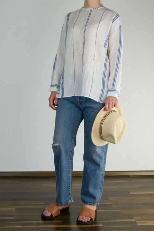 Linen Shirt Off-White Blue Striped by Maison de Soil