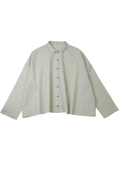 Cotton and Silk Striped Blouse by ApuntoB-XS